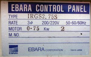 エバラ:IRGS2.75S 銘盤