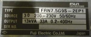 エバラ 50BNEMD7.5B 用インバーター 銘盤